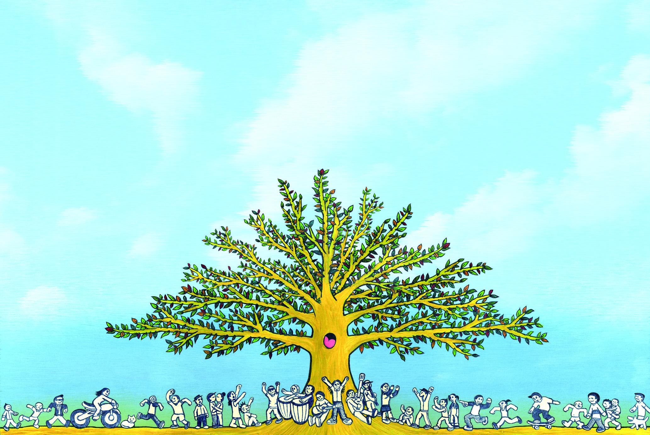 人々の集まる木 | PONCHI